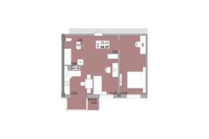 ЖК Місто Мрій: планировка 2-комнатной квартиры 54.59 м²