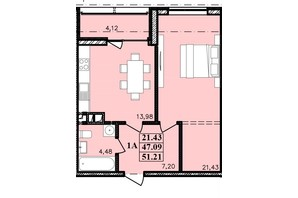 ЖК Modern: планування 1-кімнатної квартири 51.21 м²