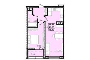 ЖК Modern: планування 1-кімнатної квартири 51.33 м²