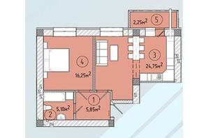 ЖК Modern: планування 1-кімнатної квартири 53.3 м²
