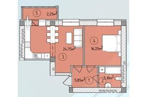 ЖК Modern: планування 1-кімнатної квартири 53.4 м²