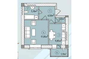 ЖК Modern: планування 1-кімнатної квартири 42.9 м²