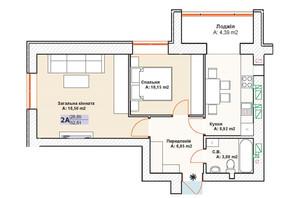 ЖК Модуль: планування 2-кімнатної квартири 52.6 м²