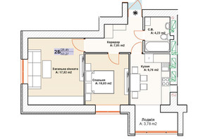 ЖК Модуль: планування 2-кімнатної квартири 53.27 м²
