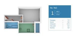 ЖК Молодежный квартал: планировка 1-комнатной квартиры 40 м²