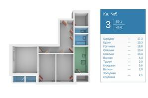 ЖК Молодежный квартал: планировка 3-комнатной квартиры 89 м²