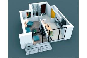 ЖК Молодіжний: планування 1-кімнатної квартири 49 м²