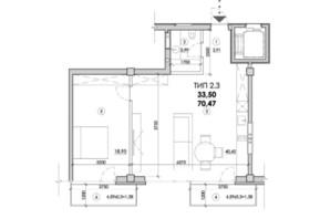 ЖК Молодіжний: планування 2-кімнатної квартири 70 м²