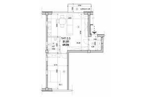 ЖК Молодіжний: планування 2-кімнатної квартири 64 м²
