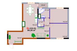 ЖК Моноліт: планування 2-кімнатної квартири 84.24 м²