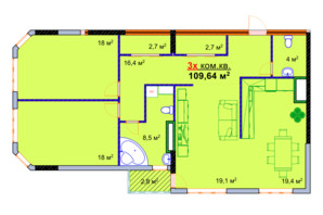 ЖК Моноліт: планування 3-кімнатної квартири 109.64 м²