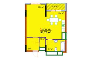 ЖК Моноліт: планування 1-кімнатної квартири 51.75 м²