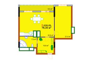 ЖК Моноліт: планування 1-кімнатної квартири 76.35 м²