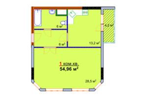 ЖК Монолит: планировка 1-комнатной квартиры 54.96 м²