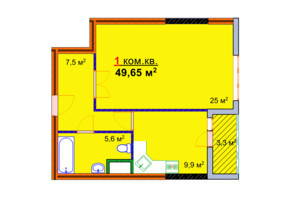 ЖК Монолит: планировка 1-комнатной квартиры 49.65 м²