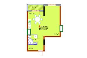ЖК Монолит: планировка 1-комнатной квартиры 50.45 м²