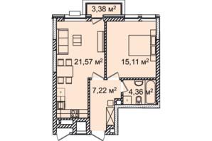 ЖК Montreal House: планування 1-кімнатної квартири 50.15 м²