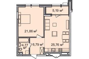 ЖК Montreal House: планування 1-кімнатної квартири 64.19 м²