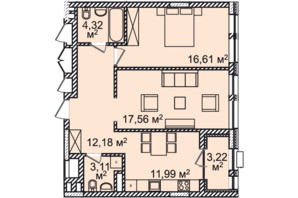 ЖК Montreal House: планування 2-кімнатної квартири 70.6 м²