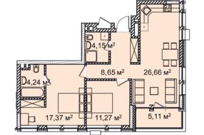 ЖК Montreal House: планування 3-кімнатної квартири 79.24 м²