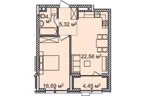 ЖК Montreal House (Монреаль Хаус): планировка 1-комнатной квартиры 53.81 м²