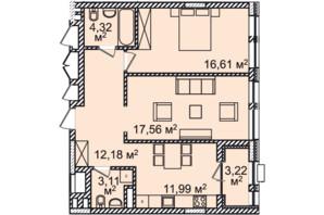 ЖК Montreal House (Монреаль Хаус): планировка 2-комнатной квартиры 68.99 м²