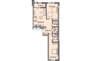 ЖК Montreal House (Монреаль Хаус): планировка 2-комнатной квартиры 95.77 м²