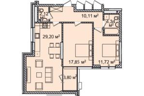 ЖК Montreal House (Монреаль Хаус): планировка 2-комнатной квартиры 77.36 м²