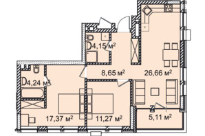 ЖК Montreal House (Монреаль Хаус): планировка 3-комнатной квартиры 73.4 м²