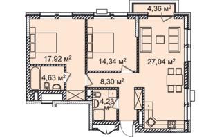 ЖК Montreal House (Монреаль Хаус): планировка 3-комнатной квартиры 77.76 м²