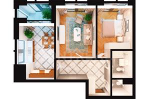 ЖК Montreal House (Монреаль Хаус): планировка 2-комнатной квартиры 66.9 м²
