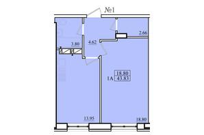 ЖК Морской: планировка 1-комнатной квартиры 43.83 м²