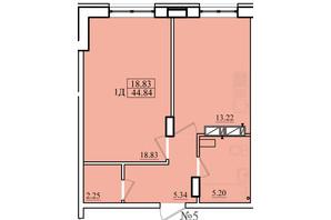ЖК Морской: планировка 1-комнатной квартиры 44.84 м²