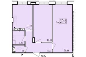 ЖК Морской: планировка 2-комнатной квартиры 62.18 м²