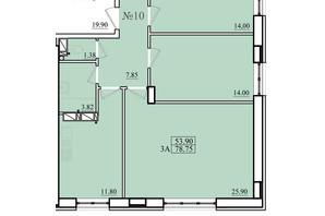 ЖК Морской: планировка 3-комнатной квартиры 79 м²