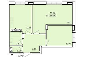ЖК Морський: планування 2-кімнатної квартири 60.66 м²