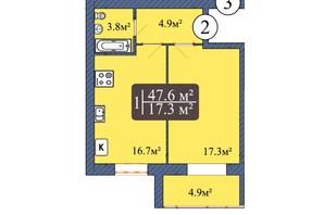 ЖК Мрія Чернігів 2: планування 1-кімнатної квартири 47.6 м²