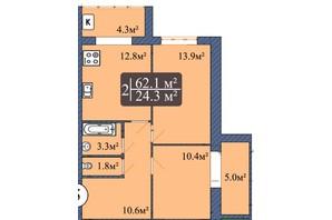 ЖК Мрія Чернігів 2: планировка 2-комнатной квартиры 62.1 м²