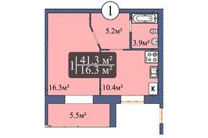 ЖК Мрія Чернігів 2: планировка 1-комнатной квартиры 43.2 м²