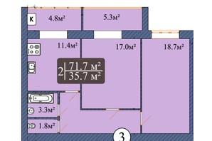 ЖК Мрія Чернігів 2: планировка 2-комнатной квартиры 73.5 м²