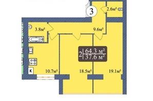 ЖК Мрія Чернігів 2: планировка 2-комнатной квартиры 64.2 м²