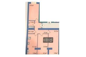 ЖК Мрія Чернігів 2: планировка 3-комнатной квартиры 81.3 м²