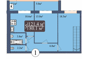 ЖК Мрія Миколаїв: планування 5-кімнатної квартири 121.4 м²