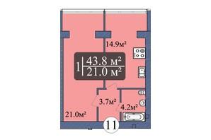 ЖК Мрія Миколаїв: планування 1-кімнатної квартири 43.8 м²