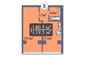 ЖК Мрія Миколаїв: планування 1-кімнатної квартири 40.3 м²