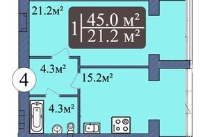 ЖК Мрія Миколаїв: планування 1-кімнатної квартири 45 м²