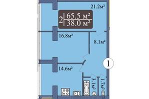 ЖК Мрія Миколаїв: планування 2-кімнатної квартири 65.5 м²