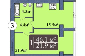 ЖК Мрія Миколаїв: планування 1-кімнатної квартири 46.1 м²