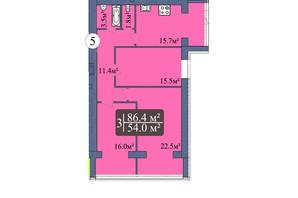 ЖК Мрія Миколаїв: планування 3-кімнатної квартири 86.4 м²