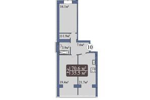 ЖК Мрія Миколаїв: планування 2-кімнатної квартири 70.6 м²